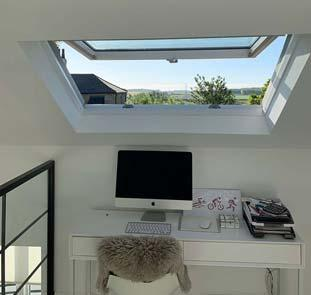 Desk under installed sky lights