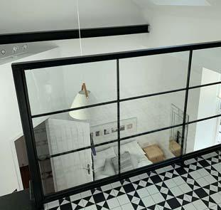 View of bedroom from glass balustrade