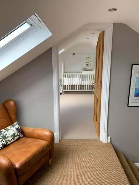 New loft conversion with wooden door